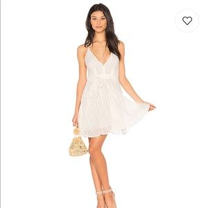 J.O.A. Revolve Low Neck Strappy Dress in White S
